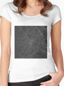 Sheffield, England Map. (White on black) Women's Fitted Scoop T-Shirt