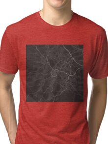 Sheffield, England Map. (White on black) Tri-blend T-Shirt