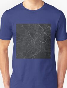 Sheffield, England Map. (White on black) T-Shirt