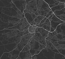 Sheffield, England Map. (White on black) by Graphical-Maps