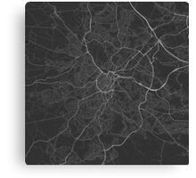Sheffield, England Map. (White on black) Canvas Print