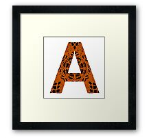 Orange,Black,Letter,Initial,A,Alphabet,Lace Framed Print