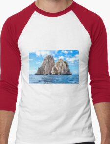 The faraglioni of Capri Island, Italy Men's Baseball ¾ T-Shirt
