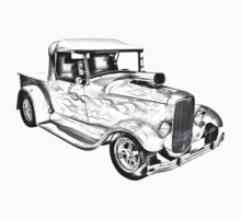 Model A Ford Pickup Hot Rod Illustration One Piece - Short Sleeve