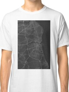 Sunderland, England Map. (White on black) Classic T-Shirt