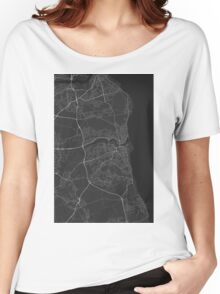 Sunderland, England Map. (White on black) Women's Relaxed Fit T-Shirt