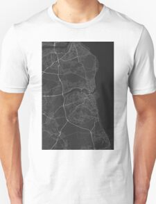 Sunderland, England Map. (White on black) T-Shirt