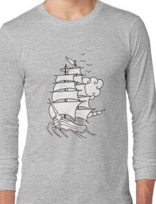 Sailing Ship  Flash Tattoo Long Sleeve T-Shirt
