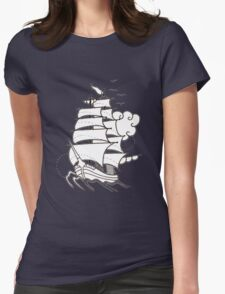 Sailing Ship  Flash Tattoo Womens Fitted T-Shirt