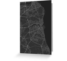 Sunderland, England Map. (White on black) Greeting Card