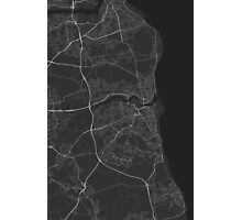 Sunderland, England Map. (White on black) Photographic Print