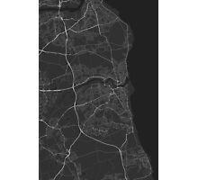 Sunderland, England Map. (White on black) Photographic Print