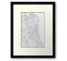 Sunderland, England Map. (Black on white) Framed Print