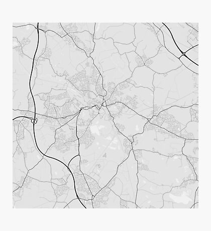 Wigan, England Map. (Black on white) Photographic Print