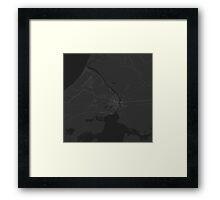 Narva, Estonia Map. (White on black) Framed Print