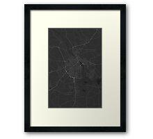Tartu, Estonia Map. (White on black) Framed Print