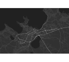 Tallinn, Estonia Map. (White on black) Photographic Print