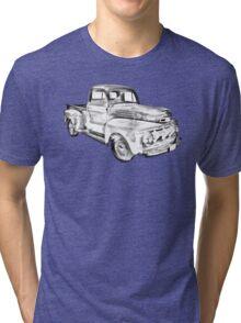 1951 Ford F-1 Pickup Truck Illustration  Tri-blend T-Shirt