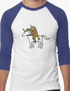 Slothicorn Riding Unicorn Men's Baseball ¾ T-Shirt