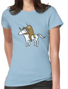 Slothicorn Riding Unicorn Womens Fitted T-Shirt