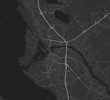 Oulu, Finland Map. (White on black) by Graphical-Maps