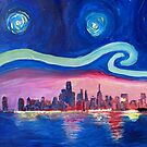 Starry Night in Chicago Illinois with Lake Michigan and Van Gogh Inspirations by artshop77