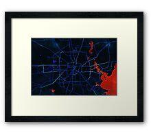 Dark map of Houston metropolitan area Framed Print