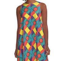 Circle and Squares 2 A-Line Dress