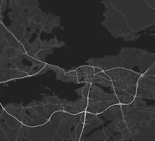 Tampere, Finland Map. (White on black) by Graphical-Maps
