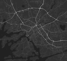 Turku, Finland Map. (White on black) by Graphical-Maps