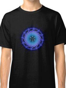 Merkaba Spiral Mandala Blue  ( Fractal Geometry ) Classic T-Shirt