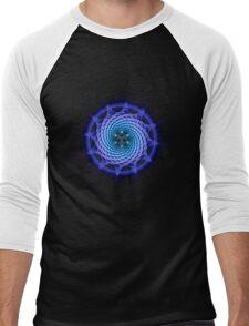 Merkaba Spiral Mandala Blue  ( Fractal Geometry ) Men's Baseball ¾ T-Shirt