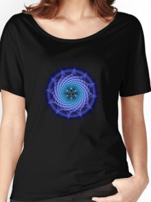 Merkaba Spiral Mandala Blue  ( Fractal Geometry ) Women's Relaxed Fit T-Shirt