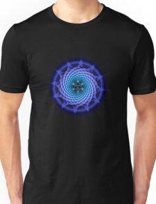 Merkaba Spiral Mandala Blue  ( Fractal Geometry ) Unisex T-Shirt
