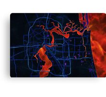 Dark map of Jacksonville Canvas Print