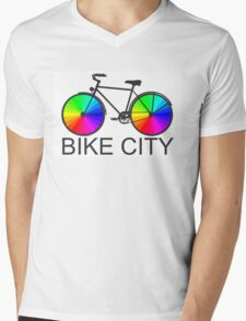 Bike City Concept Illustration Mens V-Neck T-Shirt