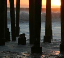 Sunset Under The Ventura Pier Sticker