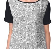 Pixel-Art Diamond Gray Pattern Chiffon Top