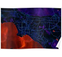 Dark map of Los Angeles Poster