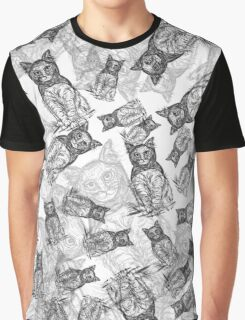 BAT CAT Pattern BW Graphic T-Shirt