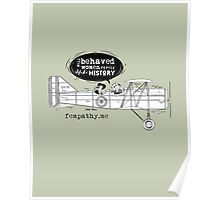Retro lady in biplane, vintage army green, airplane Poster