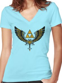 Tri Winged Women's Fitted V-Neck T-Shirt