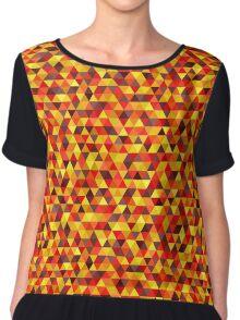 Bright Triangle Pattern In Autumn Colors Chiffon Top
