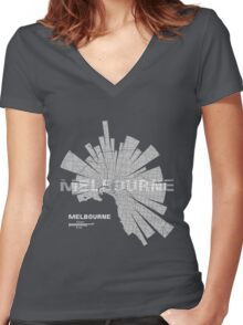 Melbourne Map Women's Fitted V-Neck T-Shirt