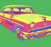 1955 Lincoln Capri Luxury Car Pop Art by KWJphotoart