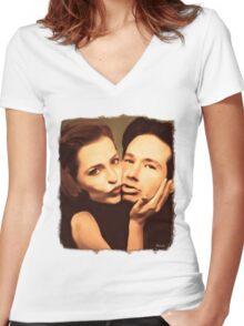 Gillian and David - The Schmoopies Women's Fitted V-Neck T-Shirt