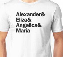 Hamilton - Alexander & Eliza & Angelica & Maria | White Unisex T-Shirt