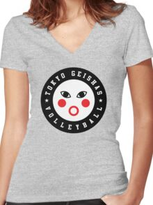 TOKYO GEISHAS VOLLEYBALL Women's Fitted V-Neck T-Shirt