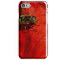 hoverfly on red poppy petal iPhone Case/Skin