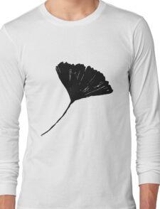 Ginkgo biloba, Lino cut nature inspired leaf pattern Long Sleeve T-Shirt